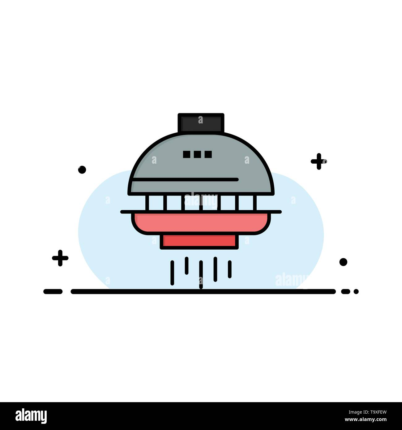 Space, shuttle, spacecraft, ufo business flat line filled icon.