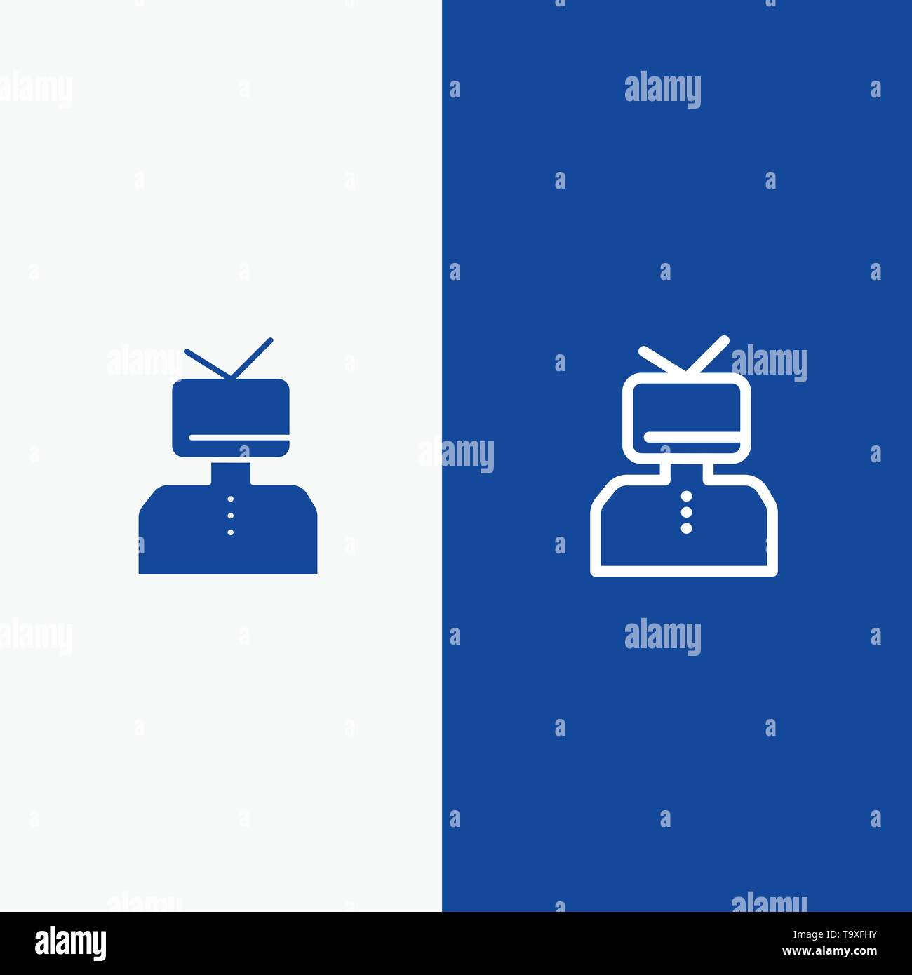 Affirmation, Affirmations, Esteem, Happy, Person Line and Glyph Solid icon Blue banner Line and Glyph Solid icon Blue banner - Stock Image