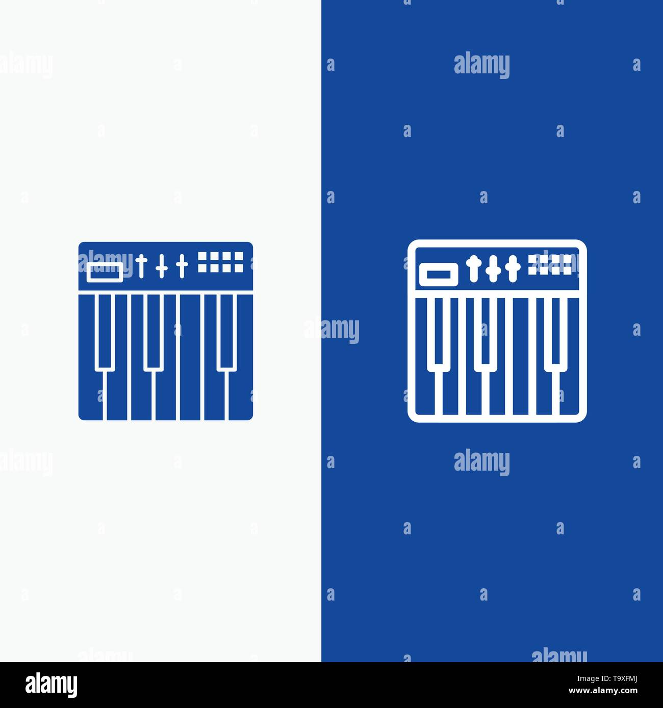 Controller, Hardware, Keyboard, Midi, Music Line and Glyph Solid icon Blue banner Line and Glyph Solid icon Blue banner - Stock Image