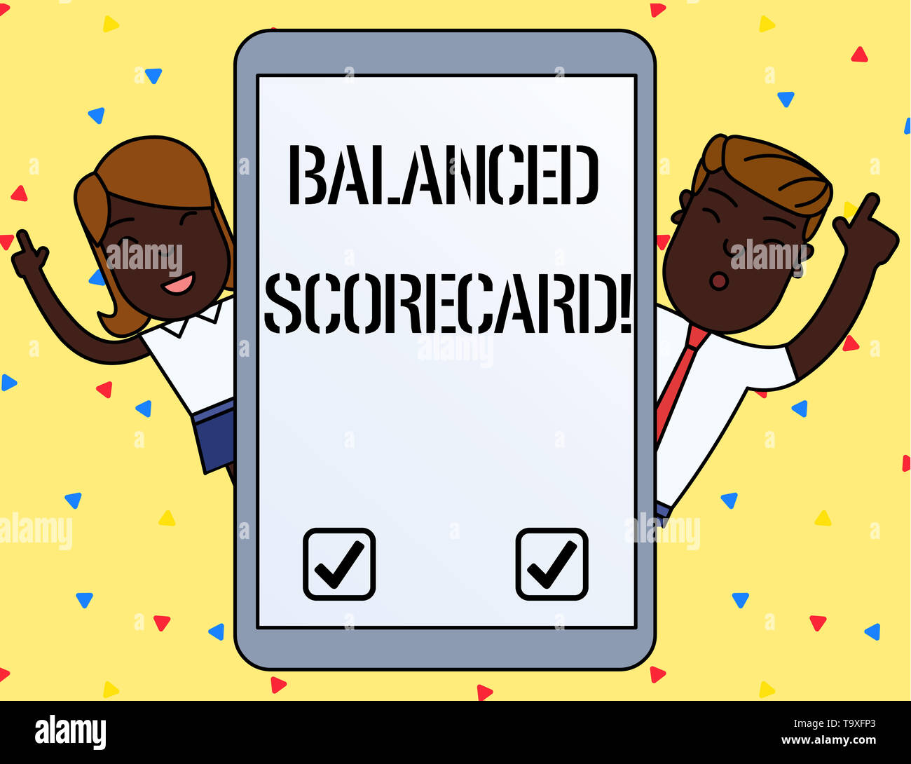 Handwriting text writing Balanced Scorecard. Conceptual photo a perforanalysisce metric used in strategic analysisagement Male and Female Index Finger - Stock Image