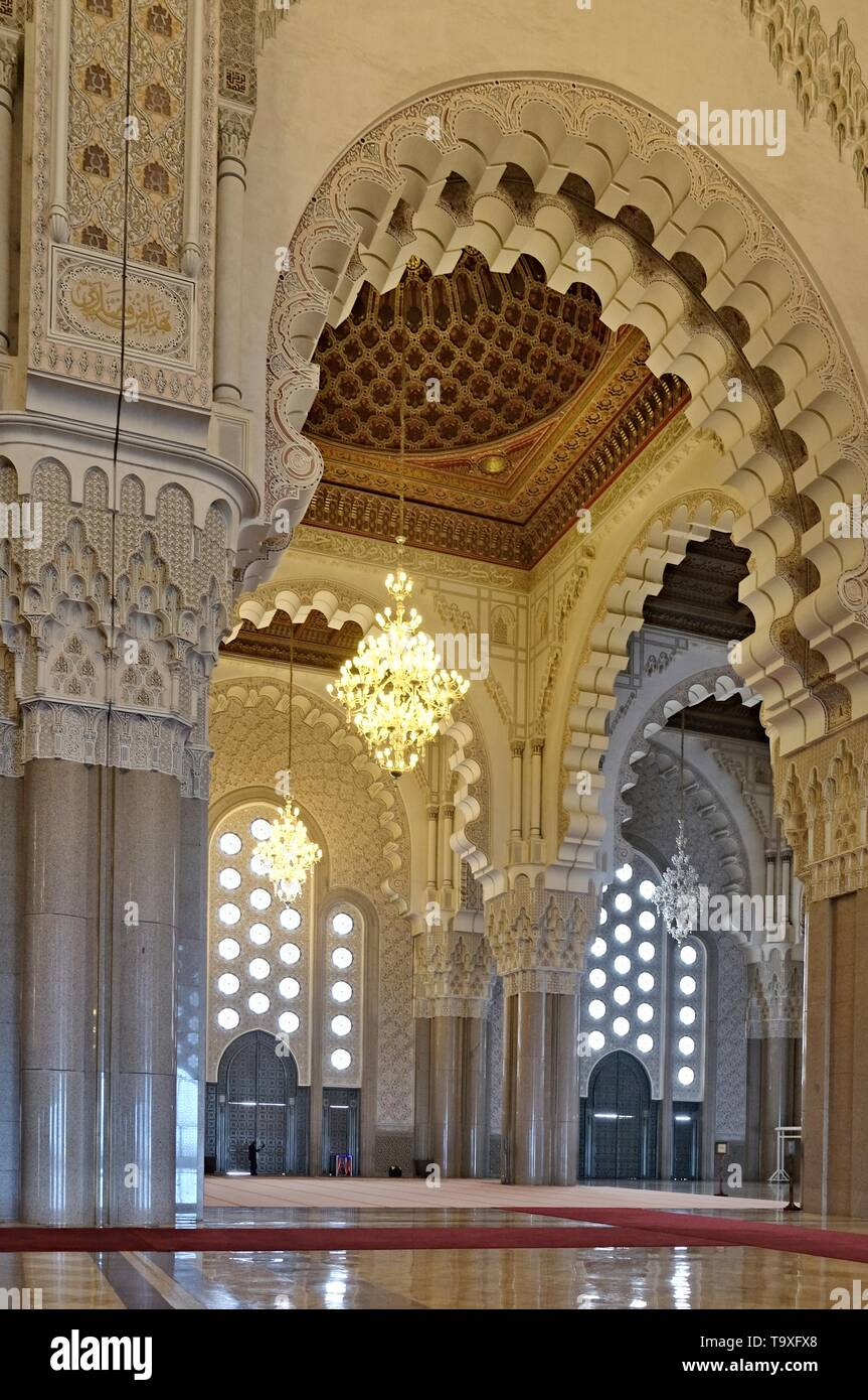 10 March 2019, Morocco, Casablanca:The Hassan II Mosque or Grande Mosqu?e Hassan II is a mosque in Casablanca, Morocco. It is the largest mosque in Af Stock Photo