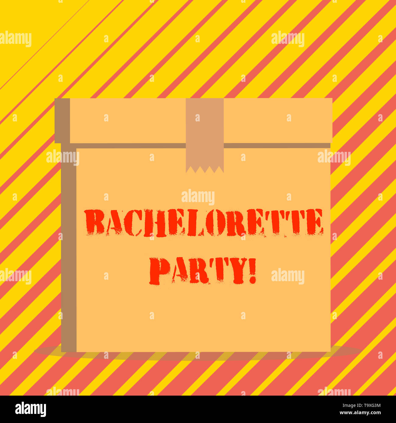 Conceptual hand writing showing Bachelorette Party. Concept meaning a party given for a woanalysis who is about to get married Rectangular hard carton - Stock Image