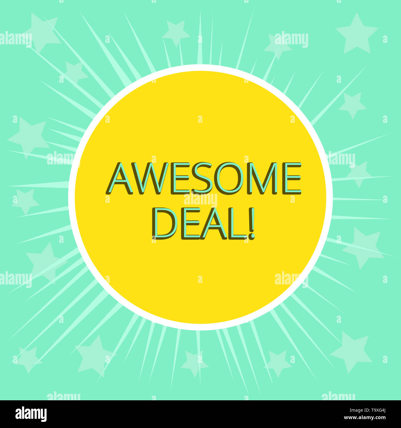 Conceptual hand writing showing Awesome Deal. Concept meaning A large but indefinite quantity as like as a good deal of money Yellow Sun White Border  - Stock Image