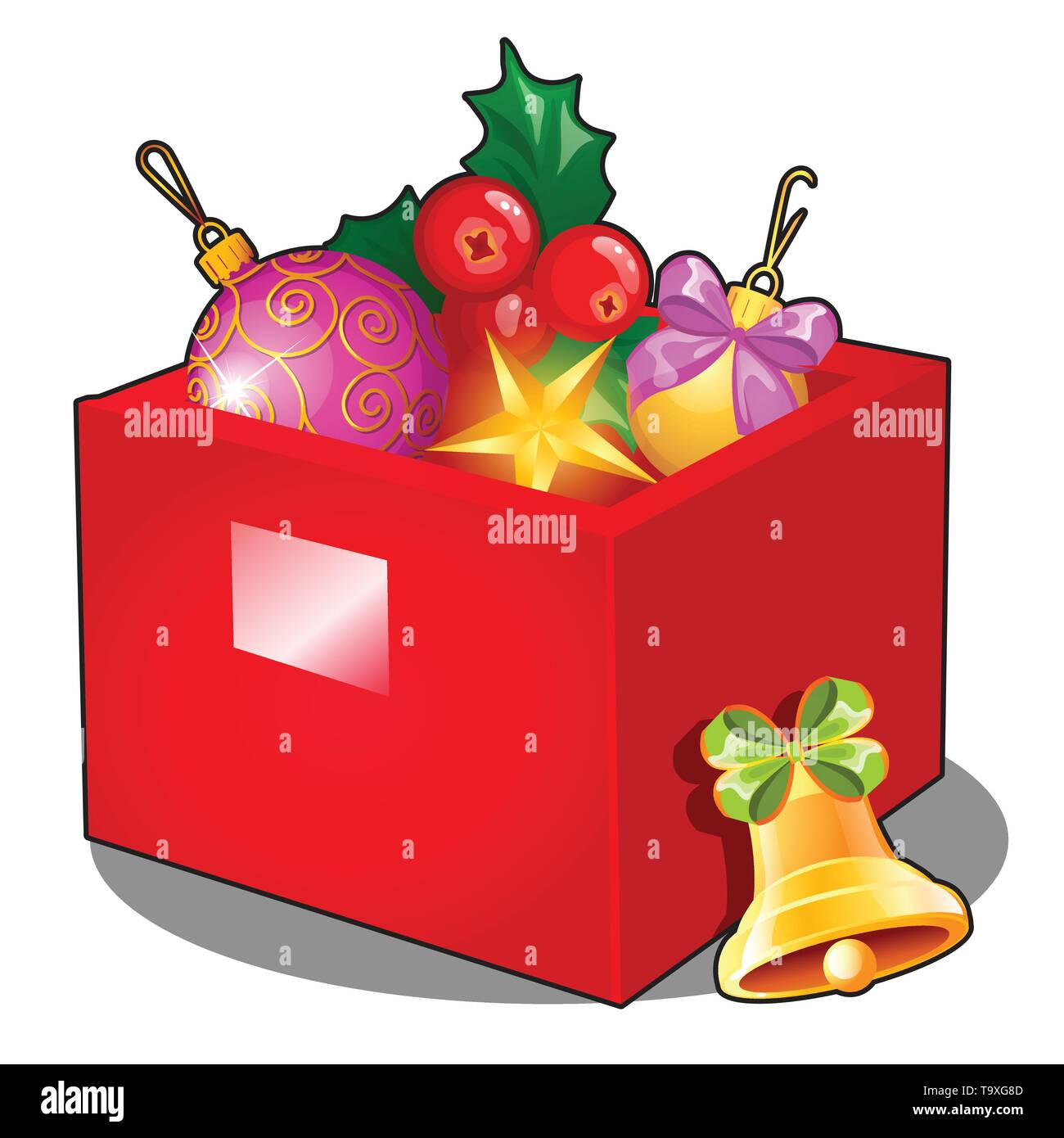 Red Box With Christmas Decorations And Baubles Isolated On