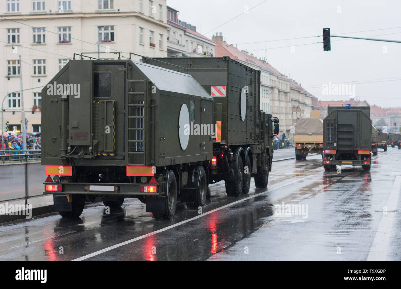Soldiers of Czech Army are riding mobile casualty ward on military parade  in Prague, Czech Republic - Stock Image