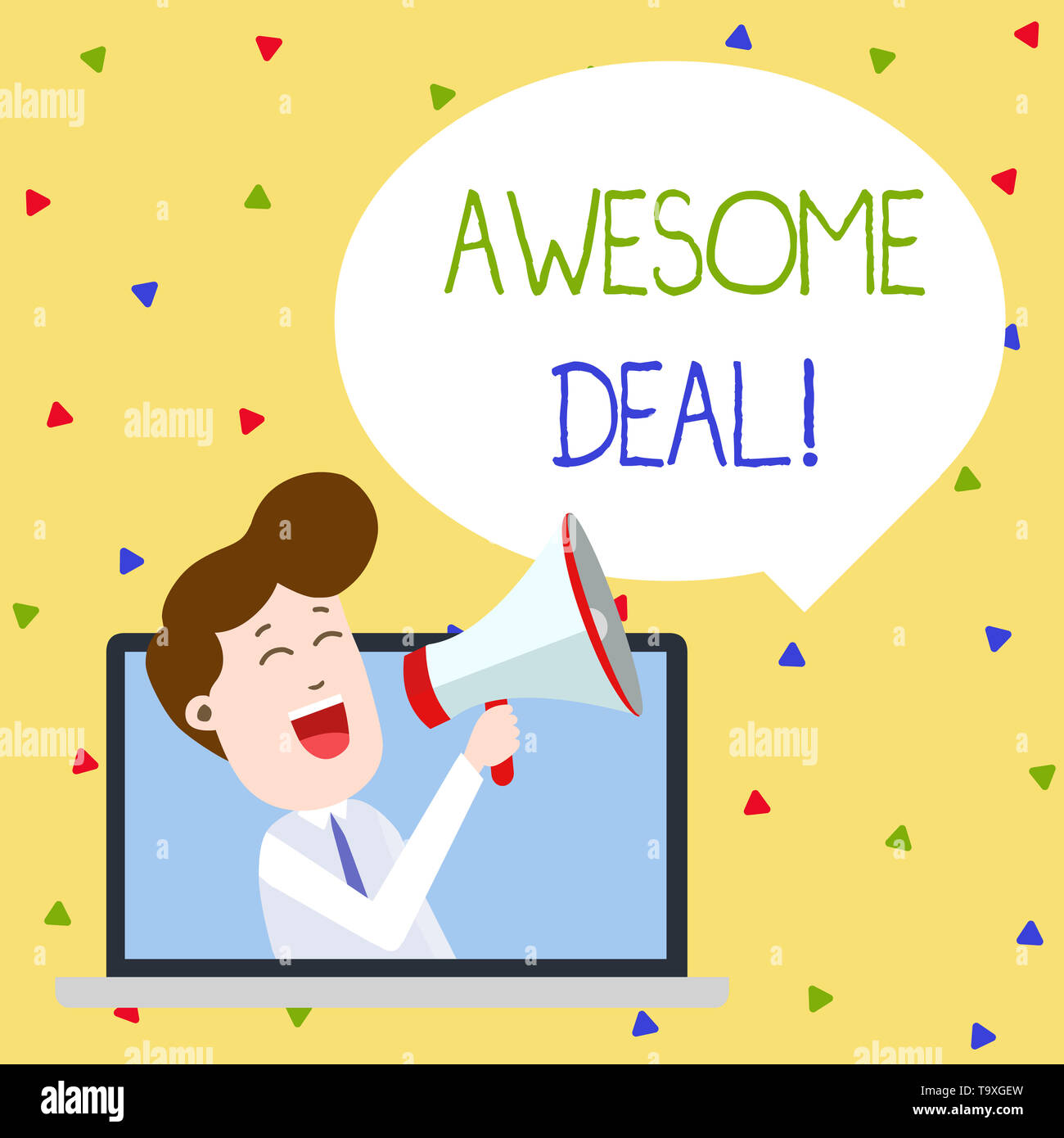 Word writing text Awesome Deal. Business photo showcasing A large but indefinite quantity as like as a good deal of money Man Speaking Through Laptop  - Stock Image