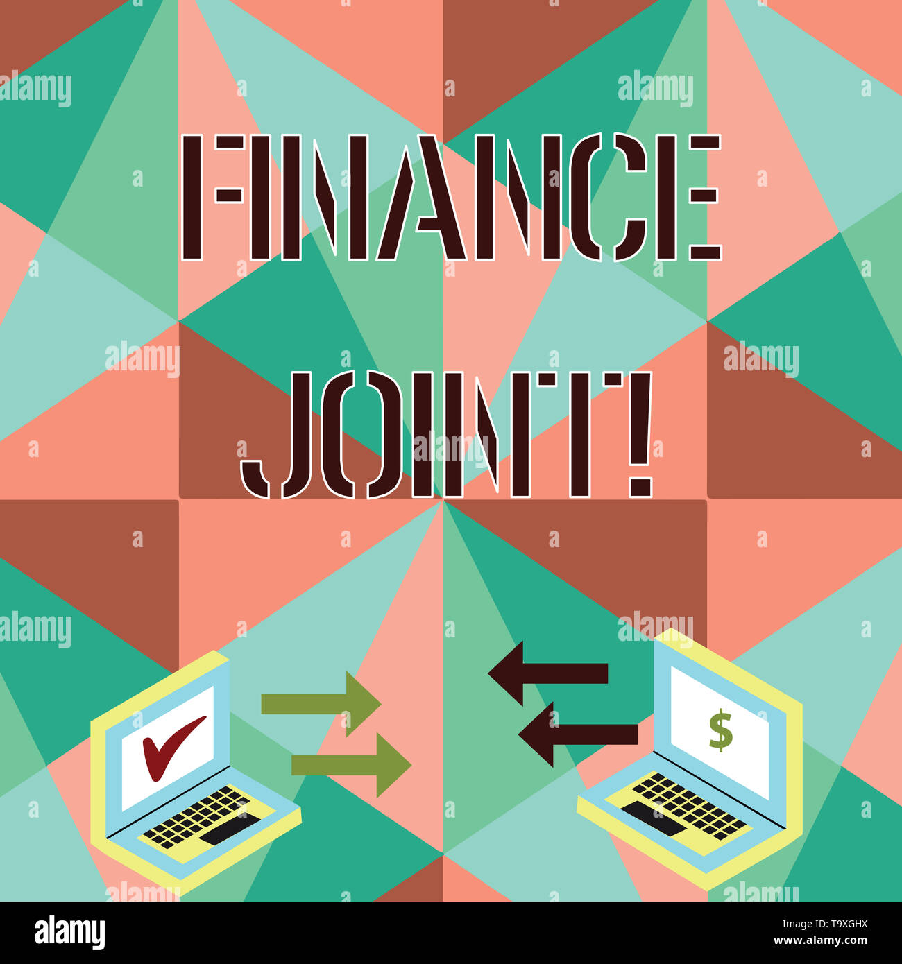 Conceptual hand writing showing Finance Joint. Concept meaning provision of funds for a project came from two or more sources Arrow Icons Between Two  - Stock Image