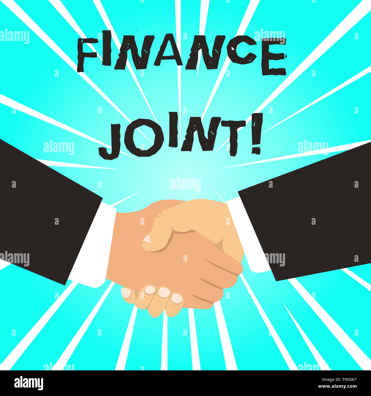 Writing note showing Finance Joint. Business concept for provision of funds for a project came from two or more sources Hand Shake Multiracial Male Bu - Stock Image