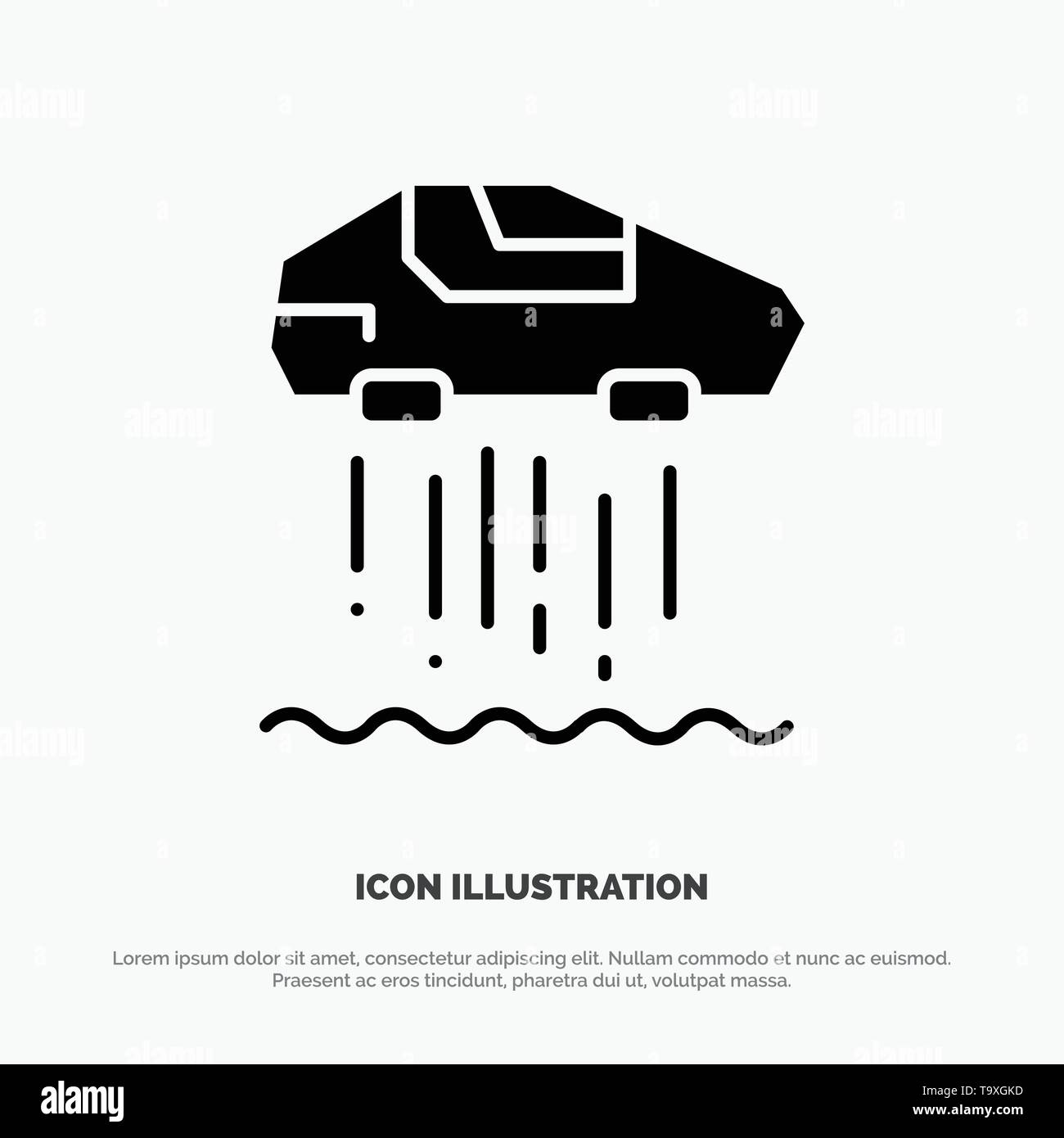 Hover car, Personal, Car, Technology solid Glyph Icon vector - Stock Image