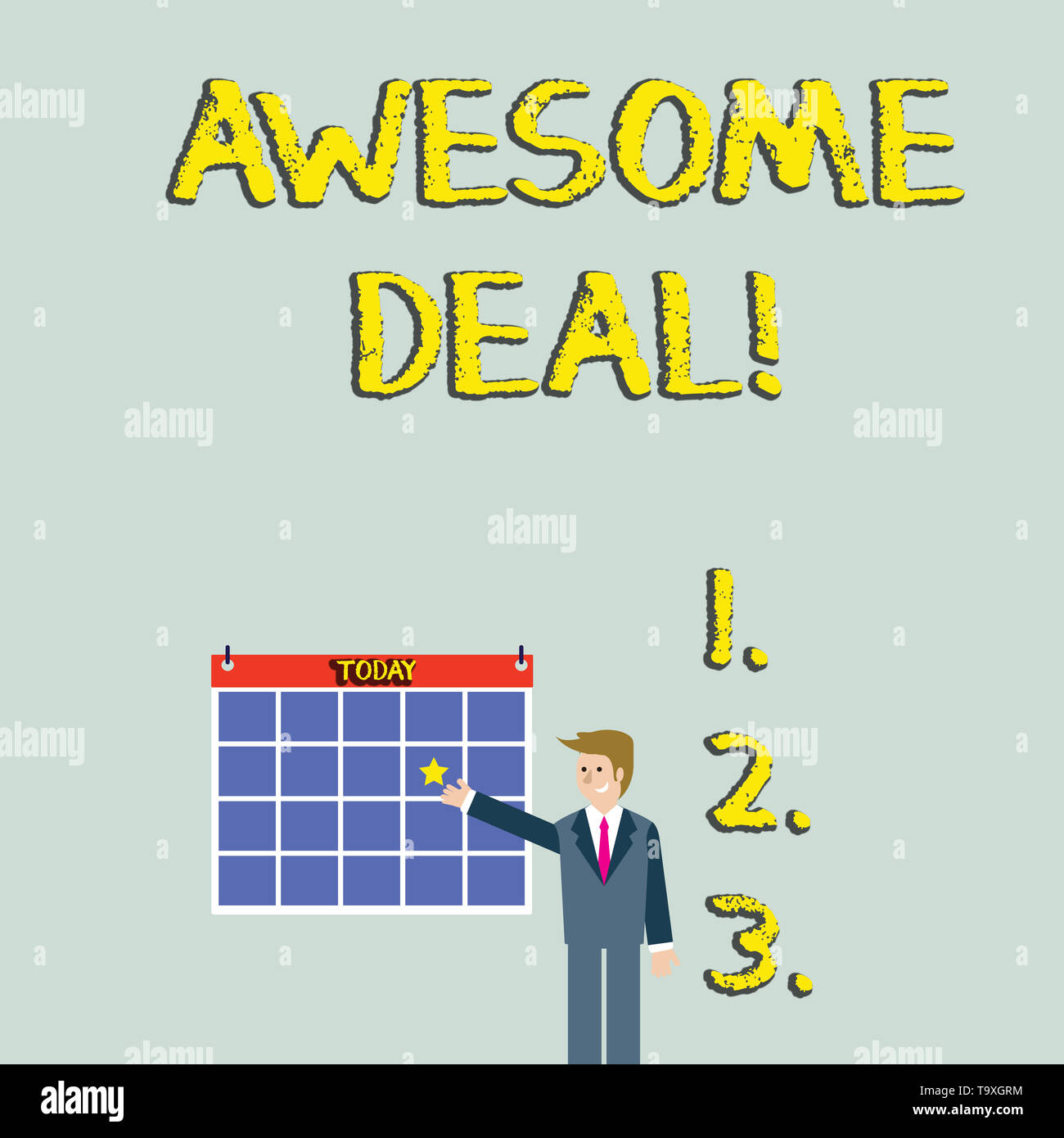 Handwriting text Awesome Deal. Conceptual photo A large but indefinite quantity as like as a good deal of money Businessman Smiling and Pointing to Co - Stock Image