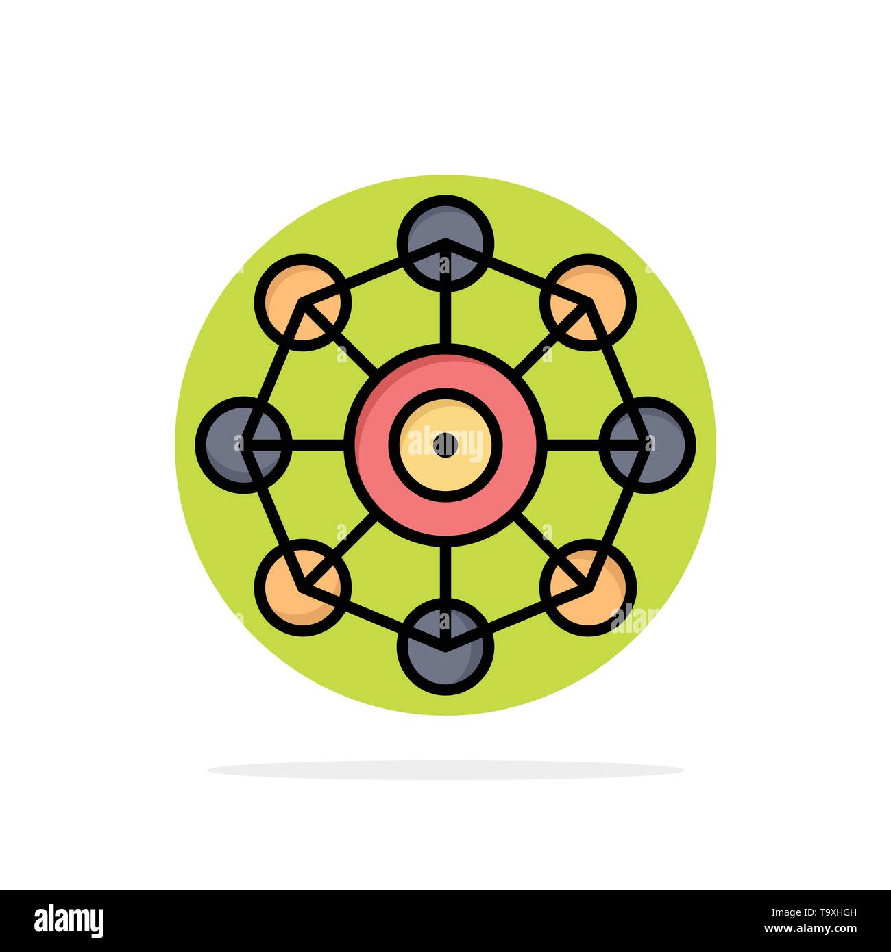 Learning, Machine, Machine Learning, Science Abstract Circle Background Flat color Icon - Stock Image