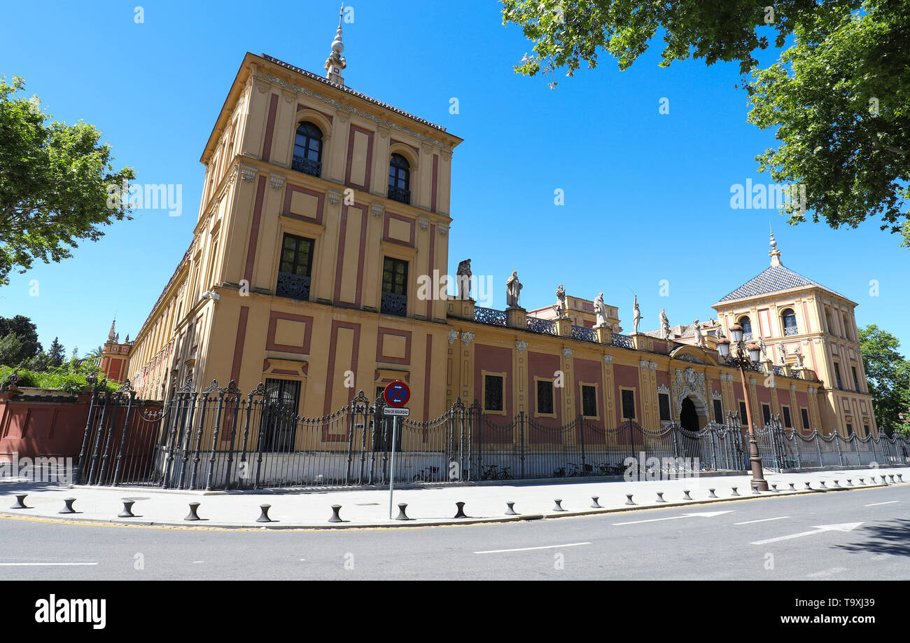 Baroque facade of the Palace of San Telmo in Seville at sunny day , Spain. Stock Photo