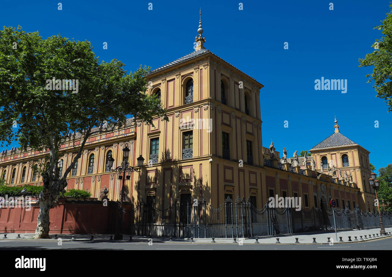 Baroque facade of the Palace of San Telmo in Seville at night, Spain. Stock Photo