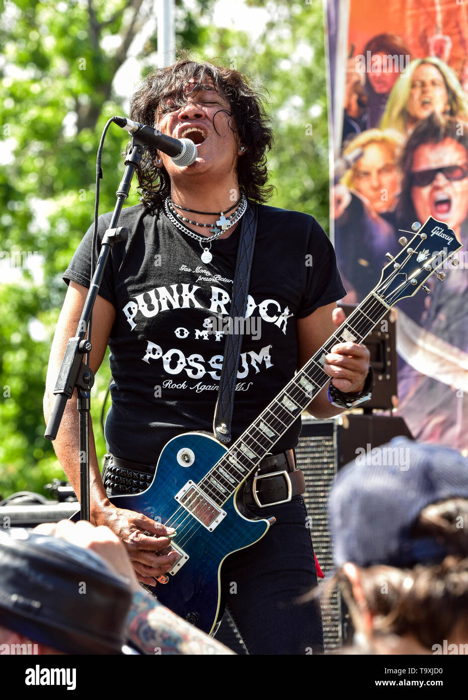 May 5, 2019, Encino, California, Marq Torien of the Bulletboys on stage at the 2019 Ride for Ronnie charity concert at Los Encinos State Historic Park Stock Photo
