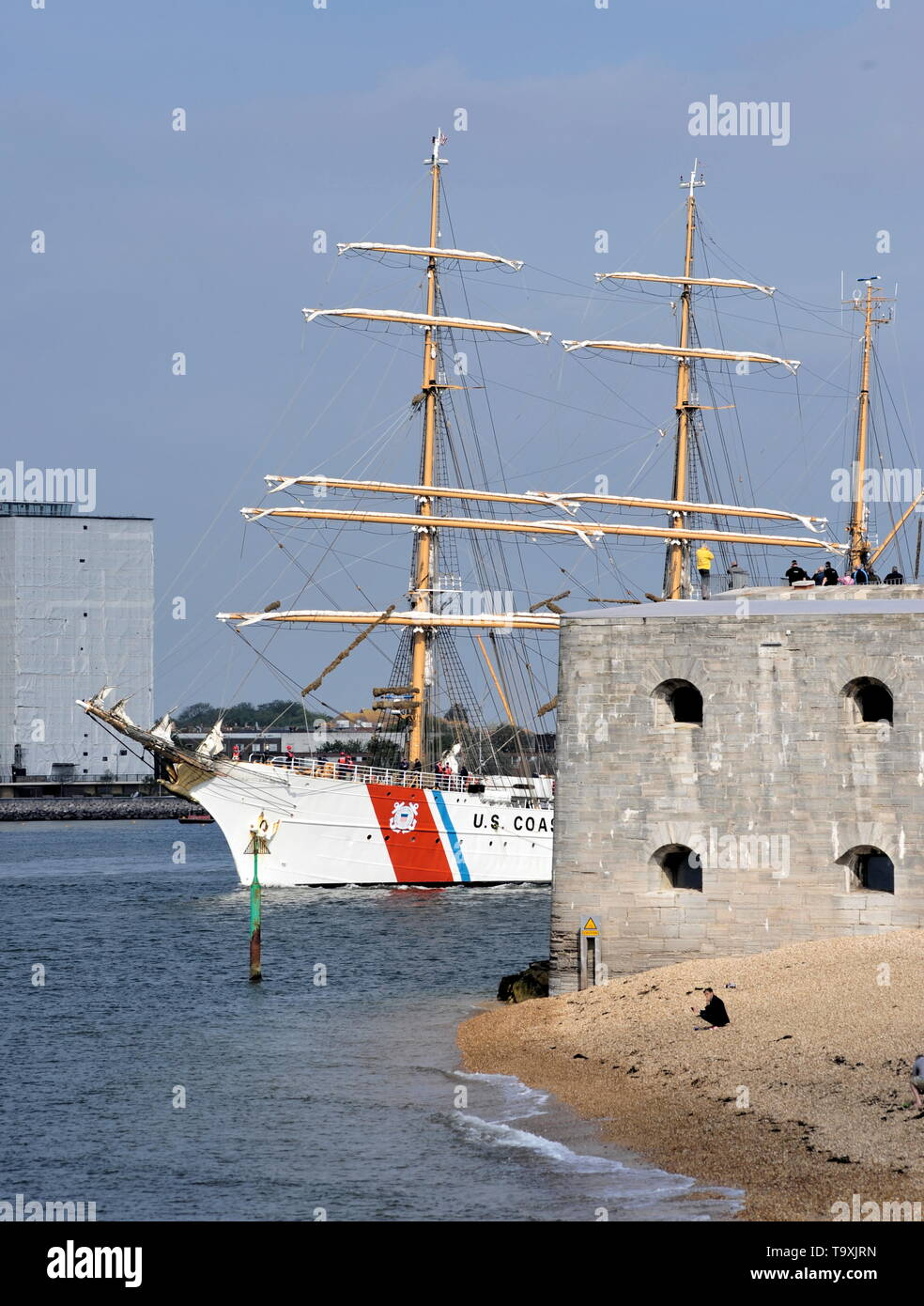 AJAX NEWS PHOTOS. 30TH APRIL, 2019. PORTSMOUTH,ENGLAND. - U.S. COAST GUARD TRAINING SHIP EAGLE, BUILT 1936 BY GERMAN YARD BLOHMN & VOSS AS THE HORST WESSEL, OUTWARD BOUND AFTER A COURTESY VISIT. PHOTO:TONY HOLLAND/AJAX REF:DTH191105_7710 - Stock Image
