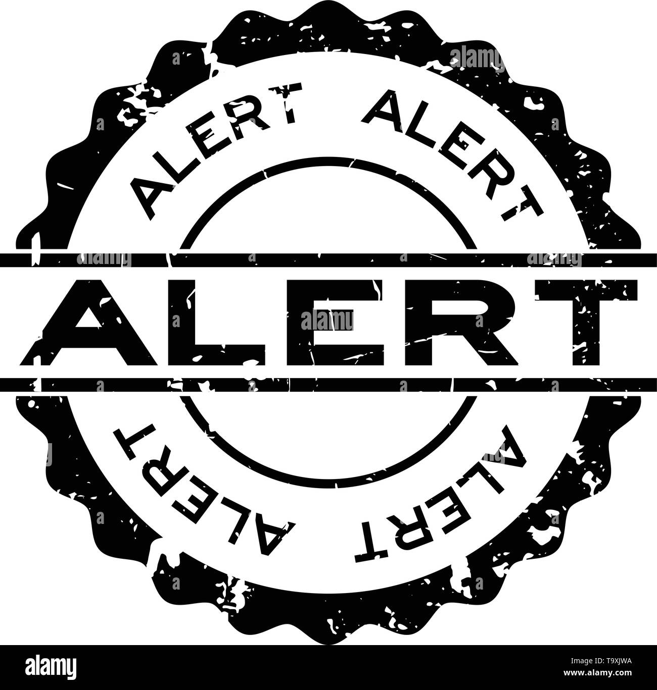 Grunge black alert word round rubber seal stamp on white background - Stock Image
