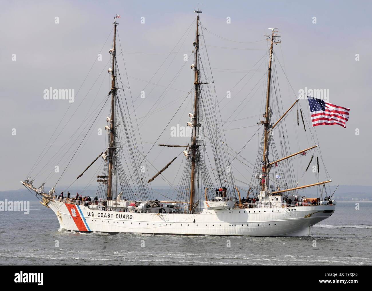 AJAX NEWS PHOTOS. 30TH APRIL, 2019. PORTSMOUTH,ENGLAND. - U.S. COAST GUARD TRAINING SHIP EAGLE, BUILT 1936 BY GERMAN YARD BLOHMN & VOSS AS THE HORST WESSEL, OUTWARD BOUND AFTER A COURTESY VISIT. PHOTO:TONY HOLLAND/AJAX REF:DTH191105_7742 - Stock Image