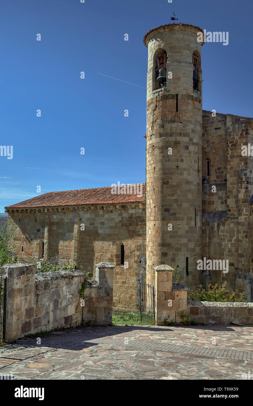 Collegiate Church of San Martín de Elines, town of Cantabria, Spain, Europe - Stock Image