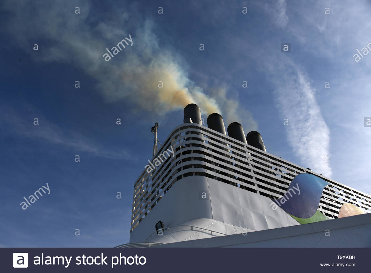 Brittany Ferry - Normandie diesel fumes, smoke as the engines start. Stock Photo
