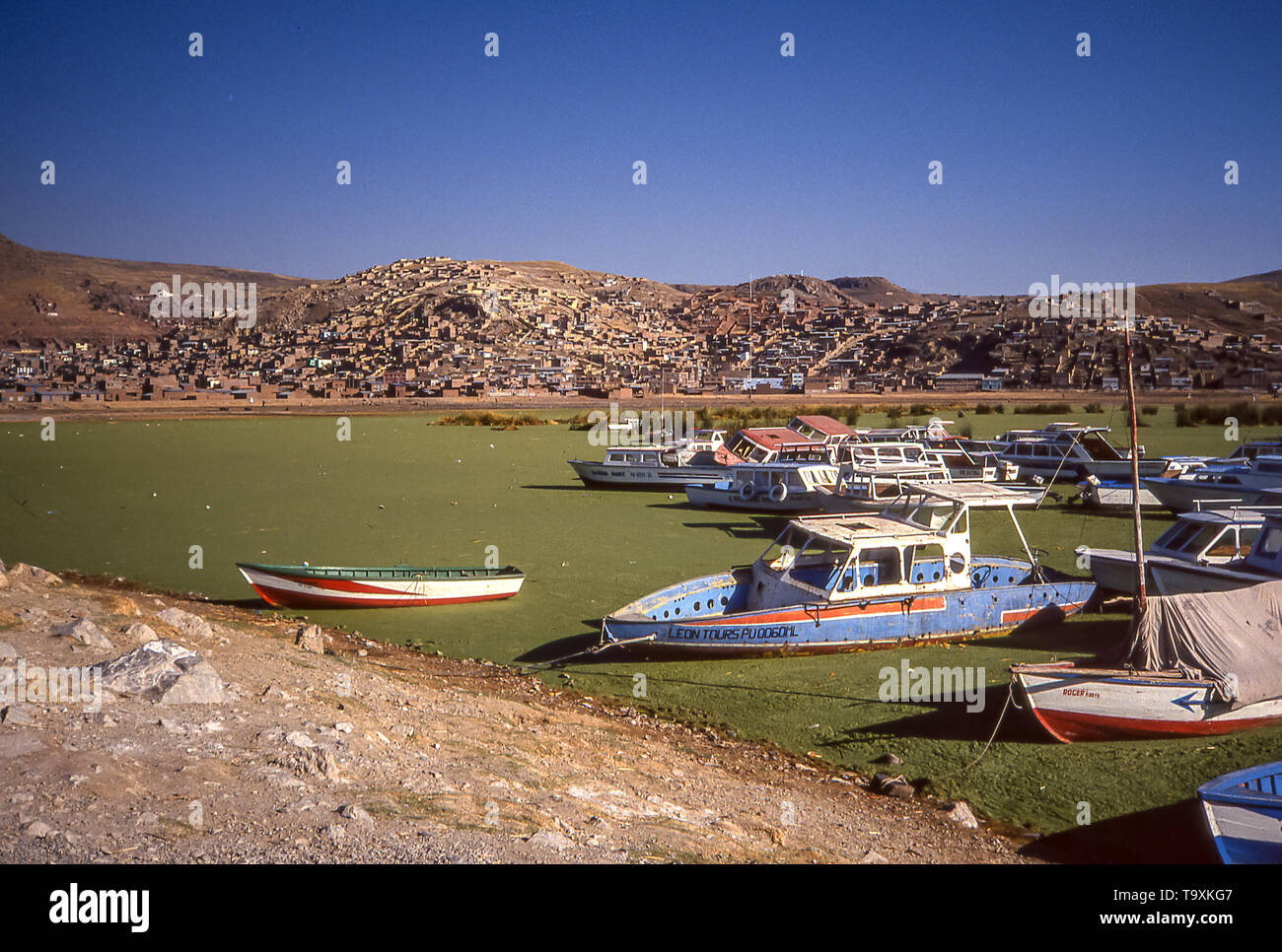 Boats moored on the green waters of Lake Titicaca, Peru. - Stock Image