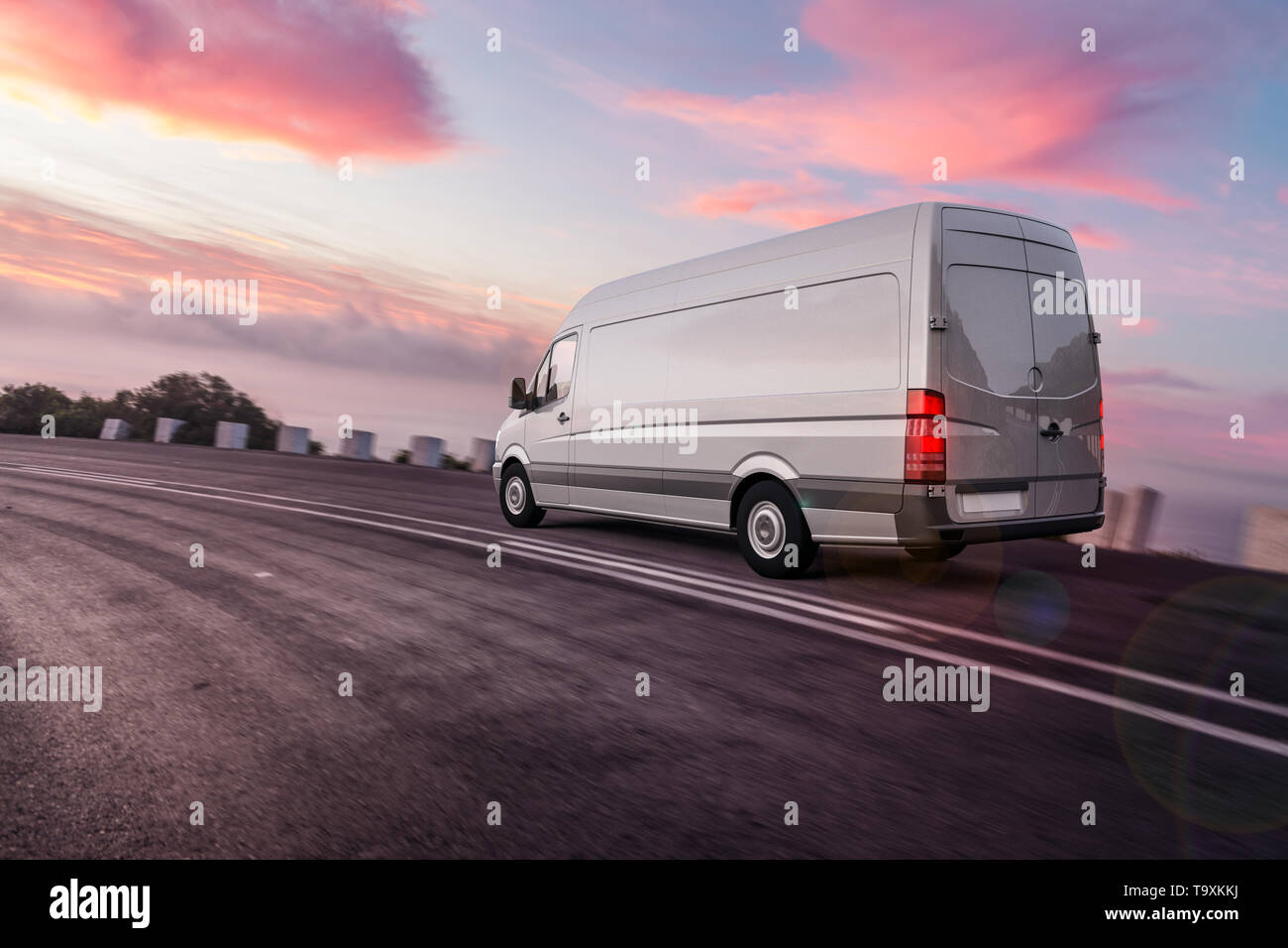 3d rendering of Van or truck of freight forwarder or shipping company on the road quickly delivers packages and deliveries overnight Stock Photo