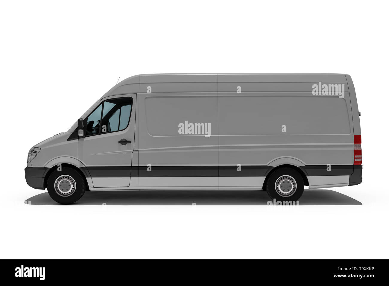 3d rendering of Van or truck of freight forwarder or shipping company quickly delivers packages and deliveries Stock Photo
