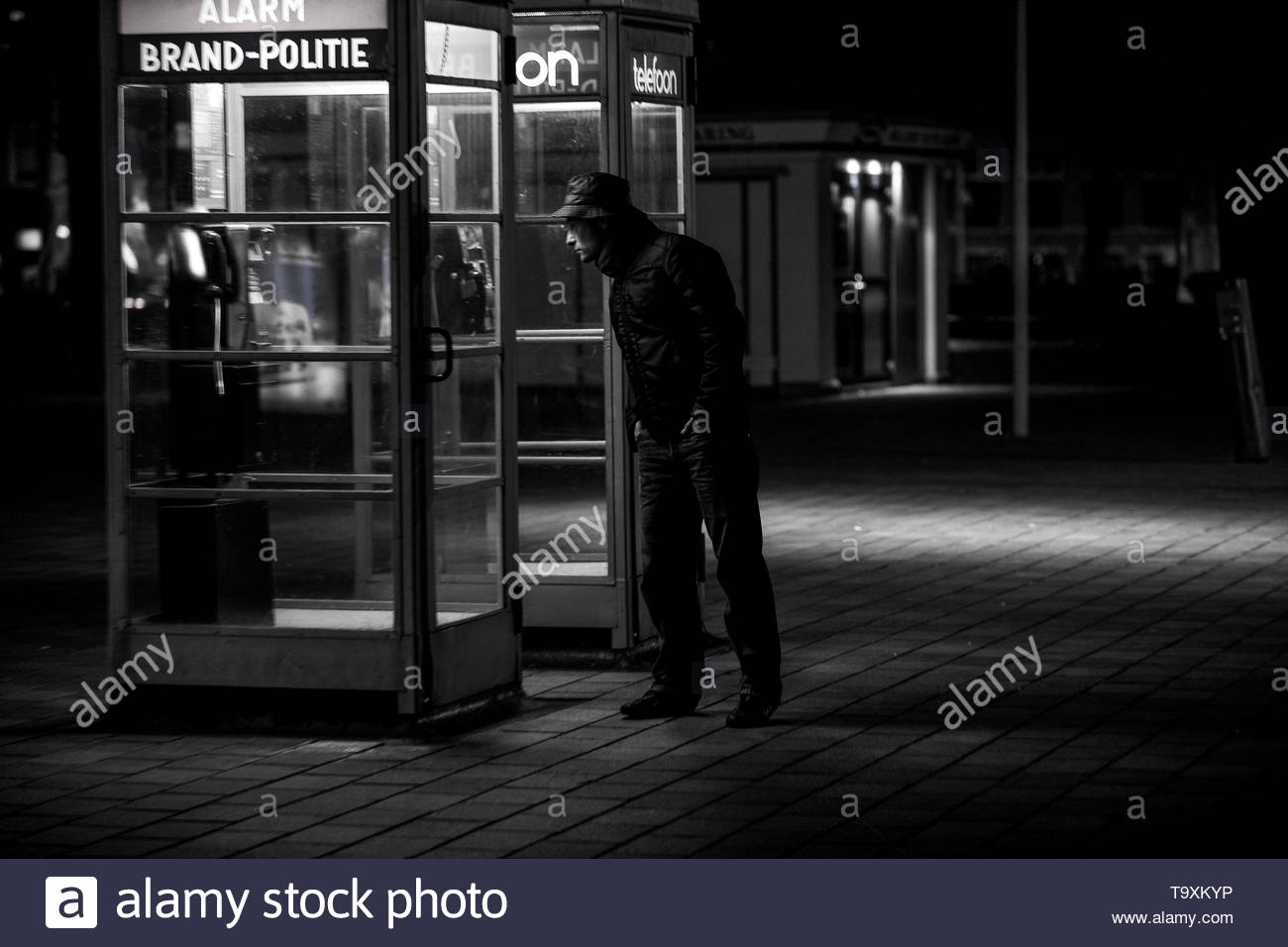 In black and white this image is veyr mysterious certainly at night - Stock Image