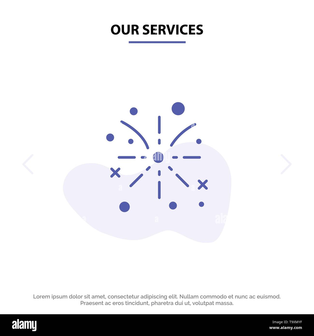 Our Services Firework, Fire, Easter, Holiday Solid Glyph Icon Web card Template - Stock Image