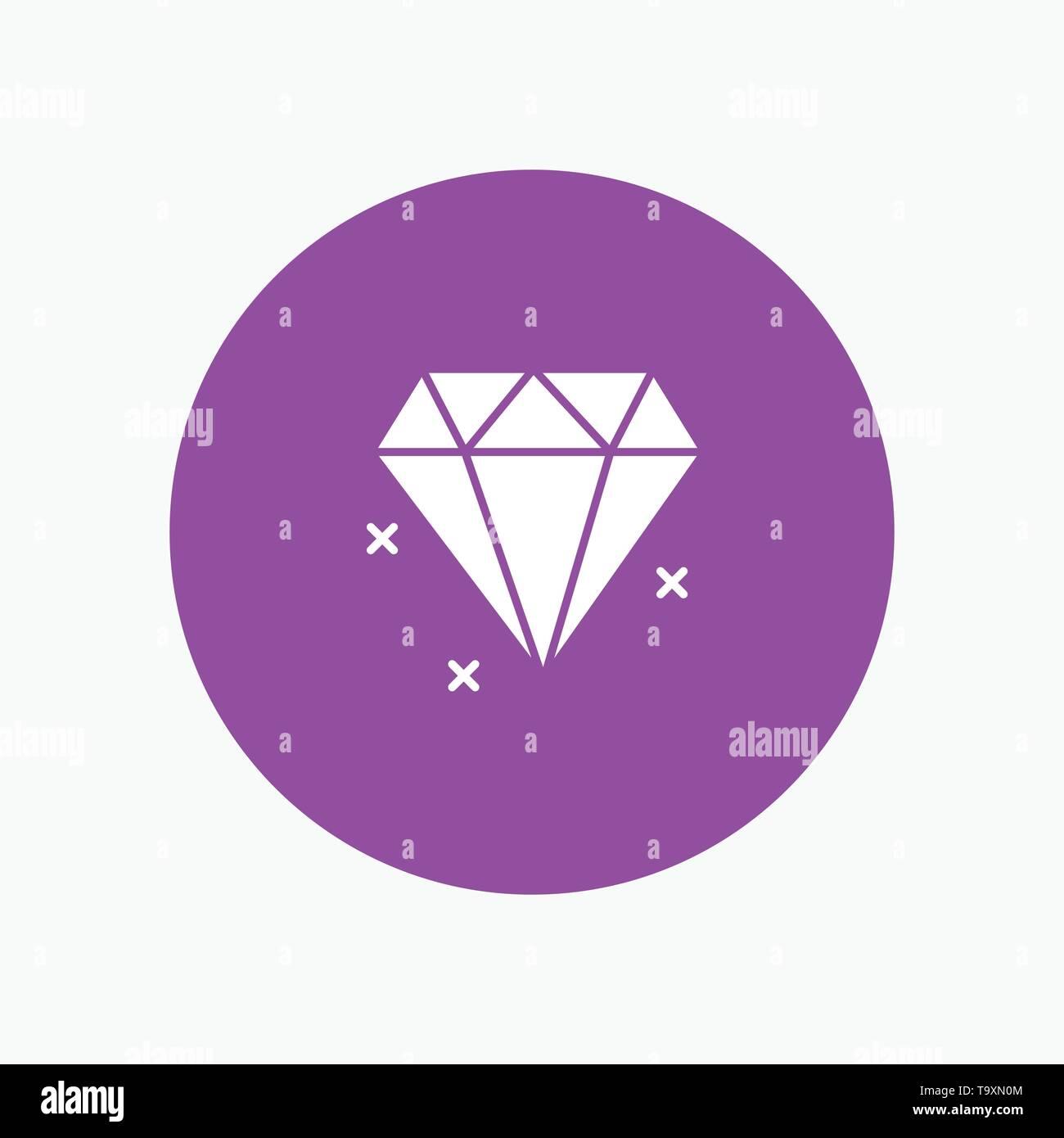 Diamond, Jewelry white glyph icon - Stock Image