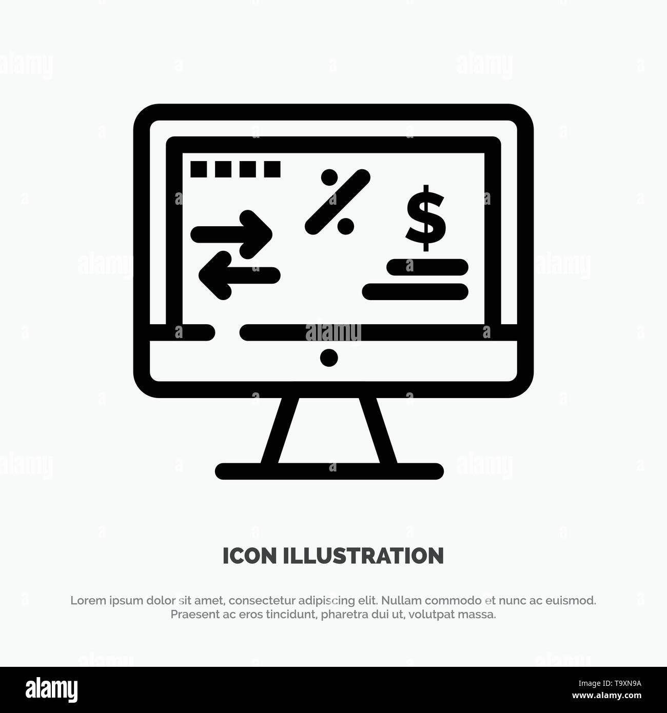 Tax Regulation, Finance, Income, Computer Line Icon Vector - Stock Vector