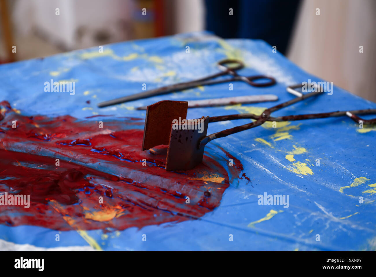 Crime scene with instruments of tortures - Stock Image