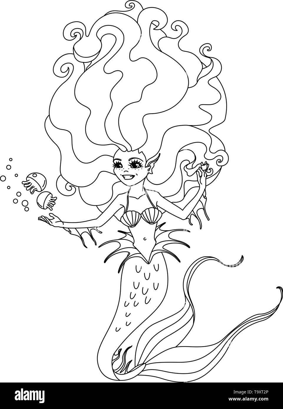 vectorr black, white outline cartoon cute mermaid Fairy sea - Stock Image