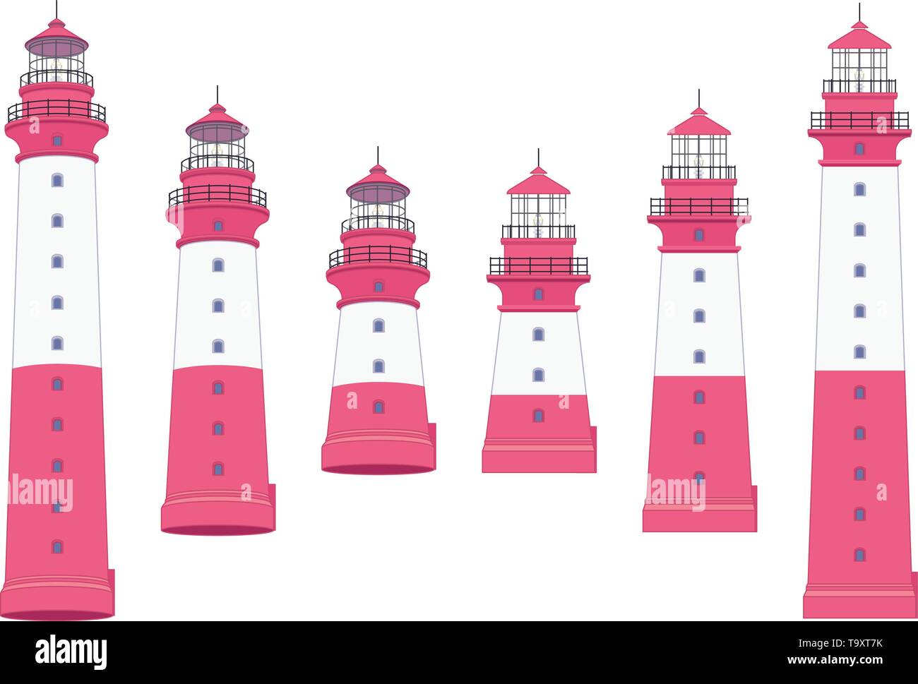 vector flat outline Lighthouse, light house, beacon set - Stock Vector