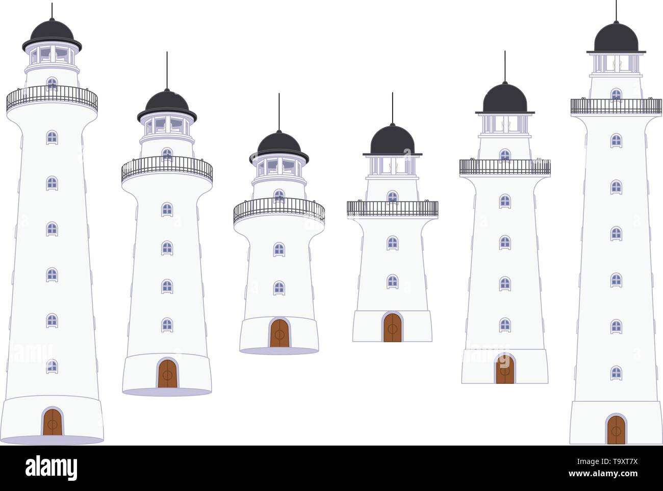 vector flat outline Lighthouse, light house, beacon set - Stock Vector