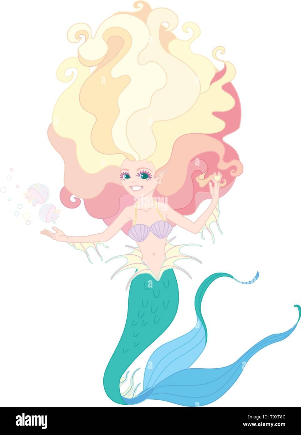 vectorr flat outline cartoon cute mermaid Fairy sea - Stock Image
