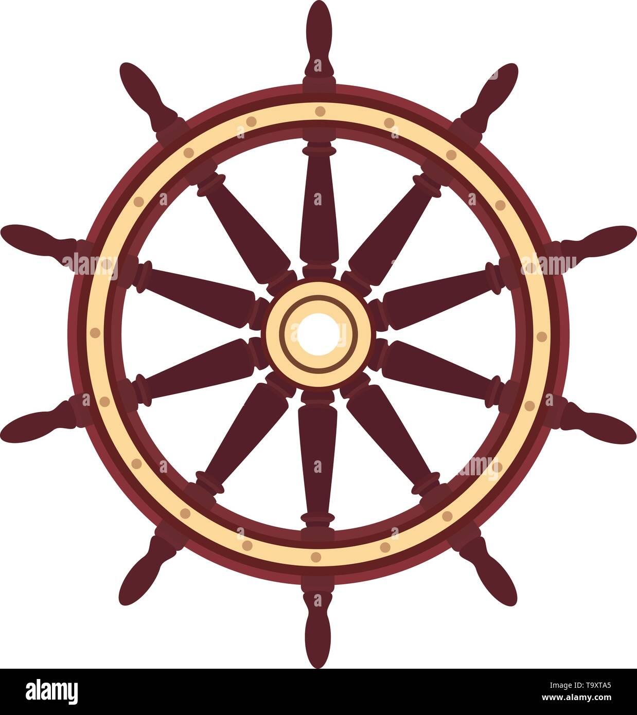 vector flat boat handwheel, ship wheel helm. Sea, ocean symbol - Stock Vector