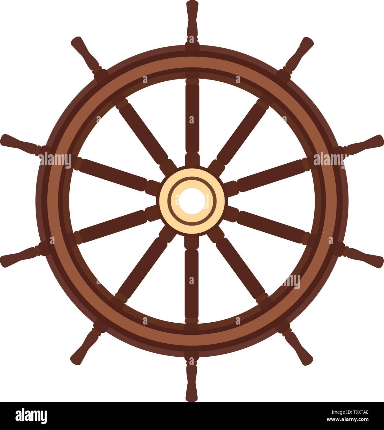 vector flat boat handwheel, ship wheel helm. Sea, ocean symbol - Stock Image