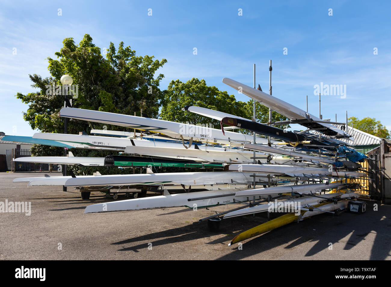 BRISTOL, UK - MAY 14 : Lots of skulling boats by the River Avon in Bristol on May 14, 2019. - Stock Image