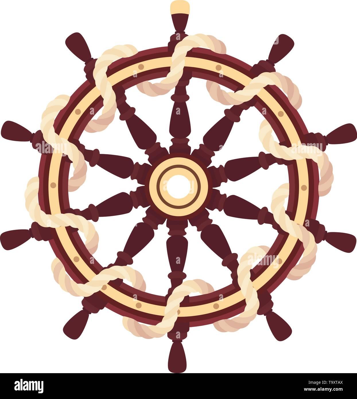 vector flat boat rope handwheel, ship wheel helm. Sea, ocean symbol - Stock Image