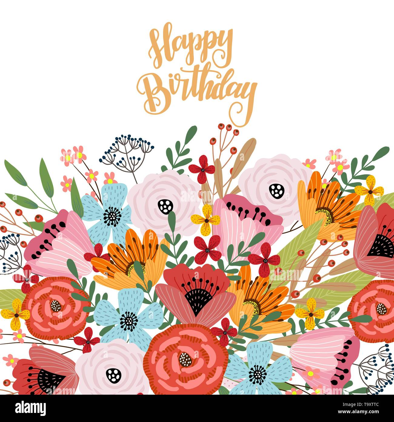 Astounding Happy Birthday Postcard Template With Cute Hand Drawing Bright Personalised Birthday Cards Veneteletsinfo