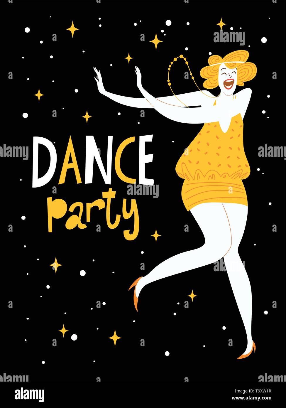 Dance party design for invitation or poster - Stock Vector