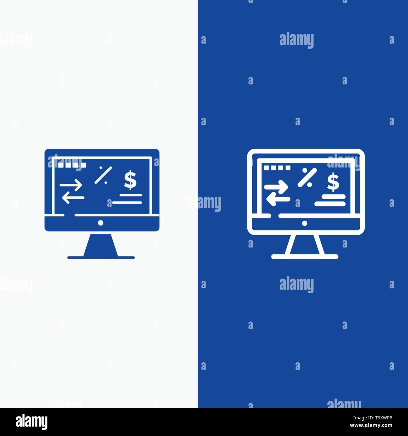 Tax Regulation, Finance, Income, Computer Line and Glyph Solid icon Blue banner Line and Glyph Solid icon Blue banner - Stock Vector