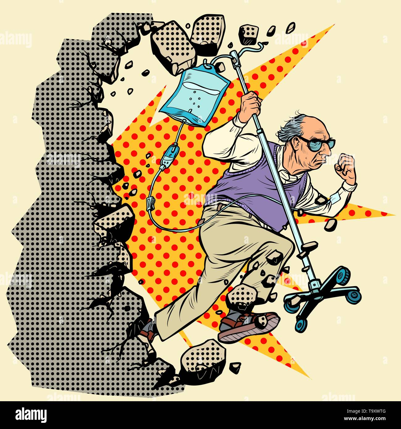 stop ageism. An old patient escapes from the hospital, grandpa with a dropper breaks the wall. Pop art retro vector illustration vintage kitsch - Stock Vector