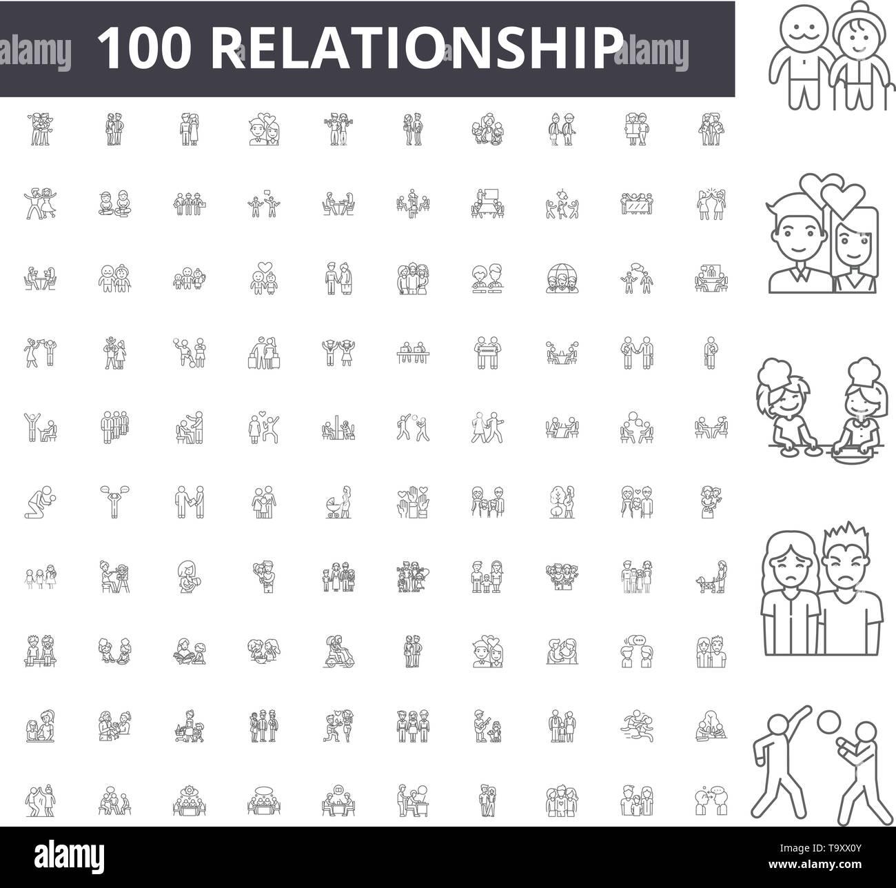 Realtionship line icons, signs, vector set, outline illustration concept  - Stock Image
