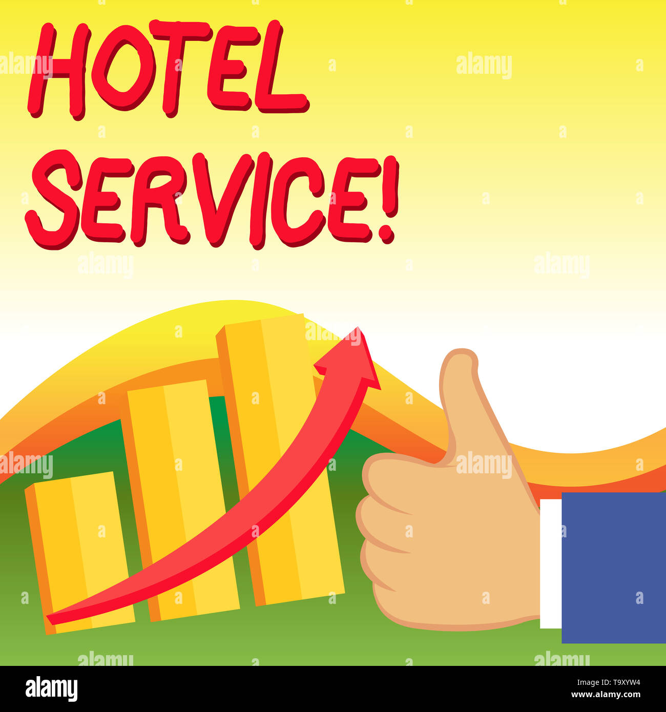 Text sign showing Hotel Service. Business photo showcasing Providing guests warm accommodation and other services Thumb Up Good Performance Success Es - Stock Image