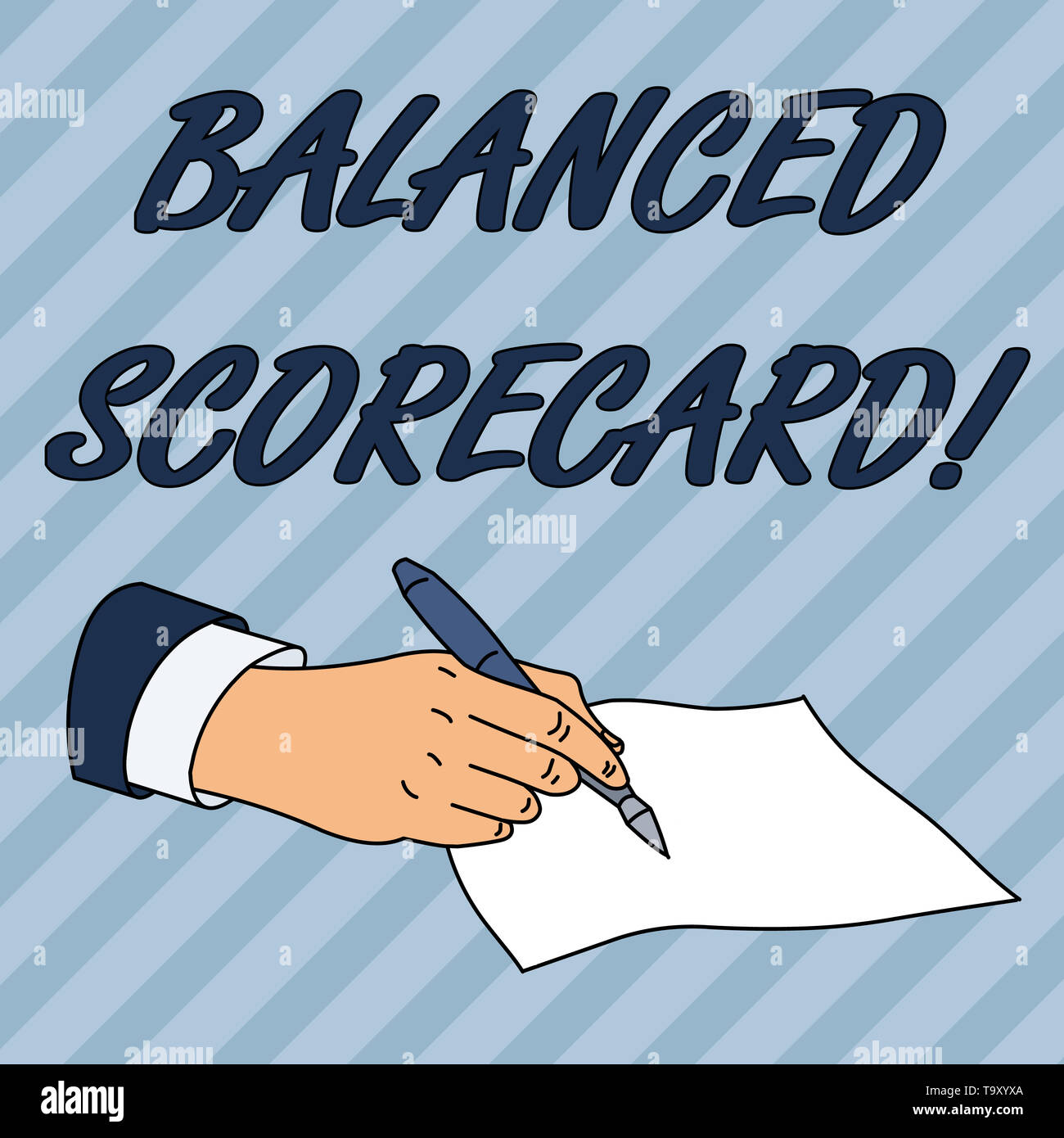 Writing note showing Balanced Scorecard. Business concept for a perforanalysisce metric used in strategic analysisagement Male Hand Formal Suit Holdin - Stock Image