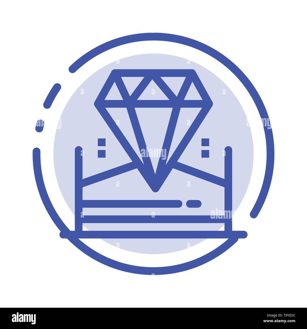 Brilliant, Diamond, Jewel, Hotel Blue Dotted Line Line Icon - Stock Image