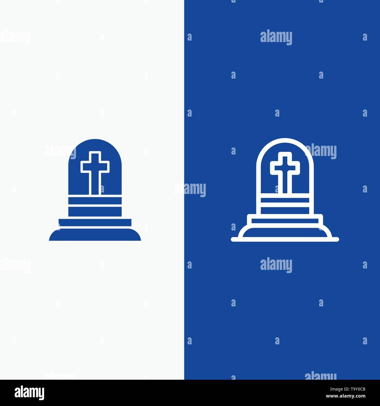 Death, Grave, Gravestone, Rip Line and Glyph Solid icon Blue banner Line and Glyph Solid icon Blue banner - Stock Image