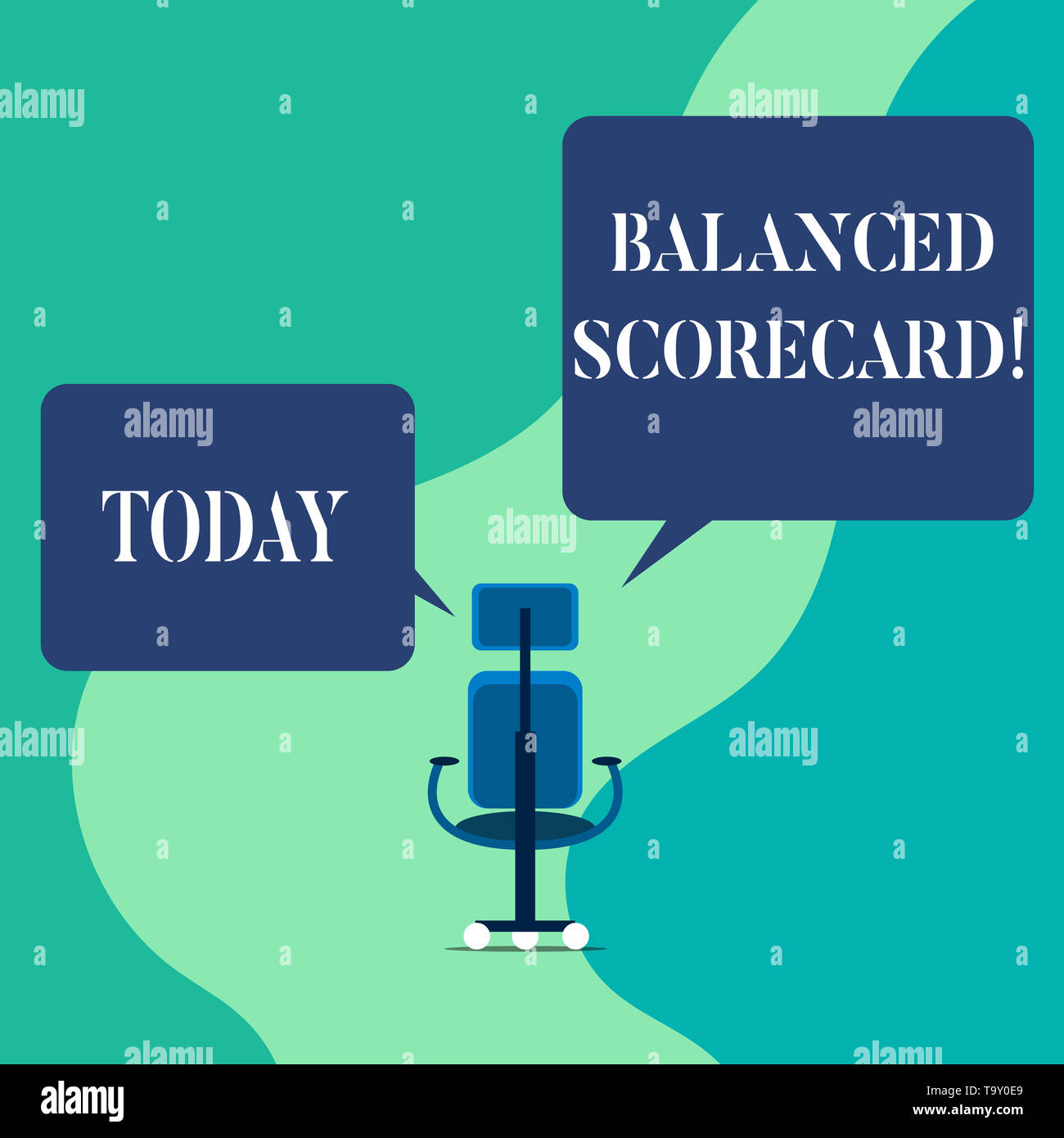 Word writing text Balanced Scorecard. Business photo showcasing a perforanalysisce metric used in strategic analysisagement Wheeled work chair with th - Stock Image