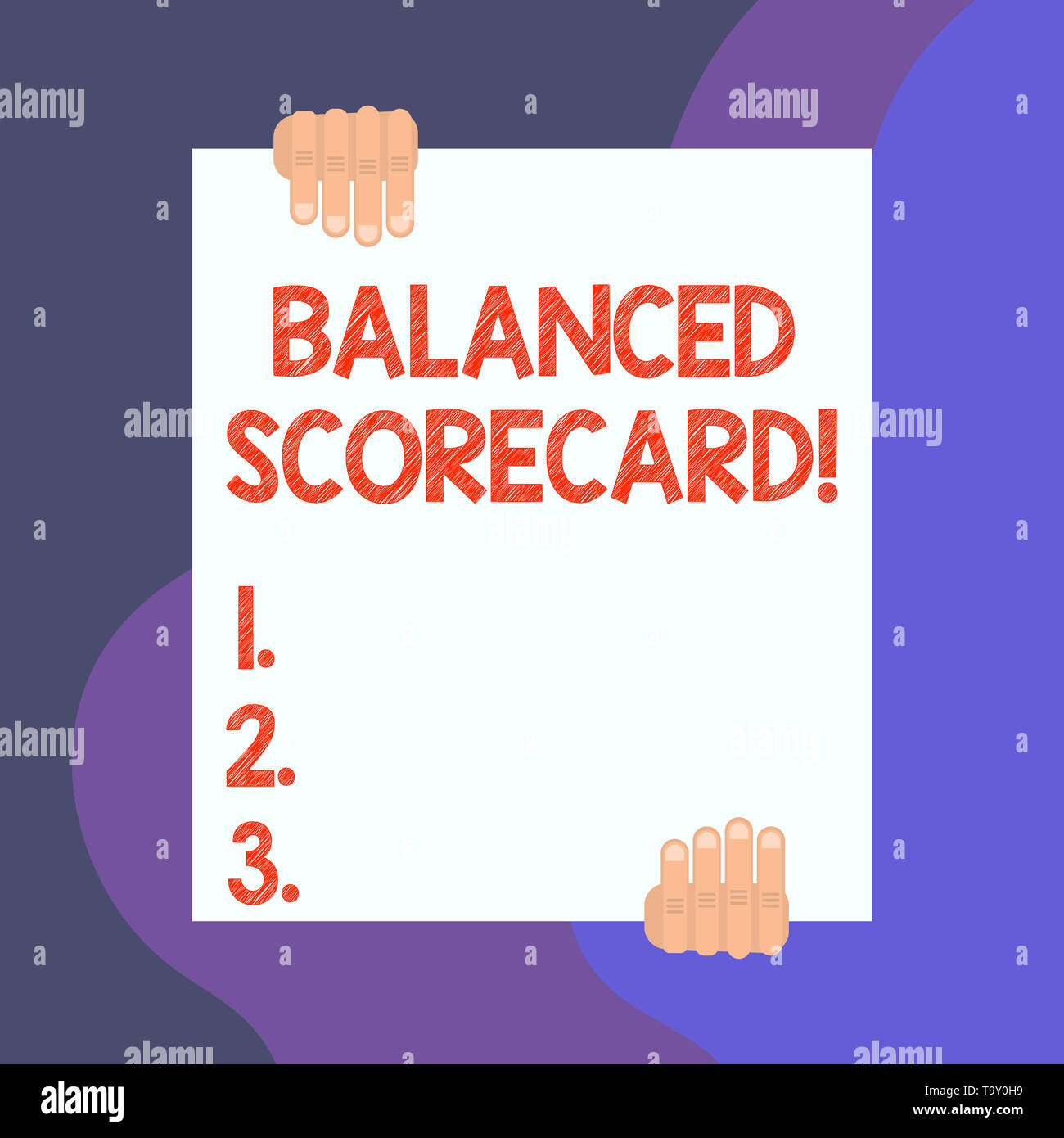 Handwriting text writing Balanced Scorecard. Conceptual photo a perforanalysisce metric used in strategic analysisagement Two hands hold one big empty - Stock Image